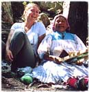 Tourist in Copper Canyon makes friends with Tarahumara lady
